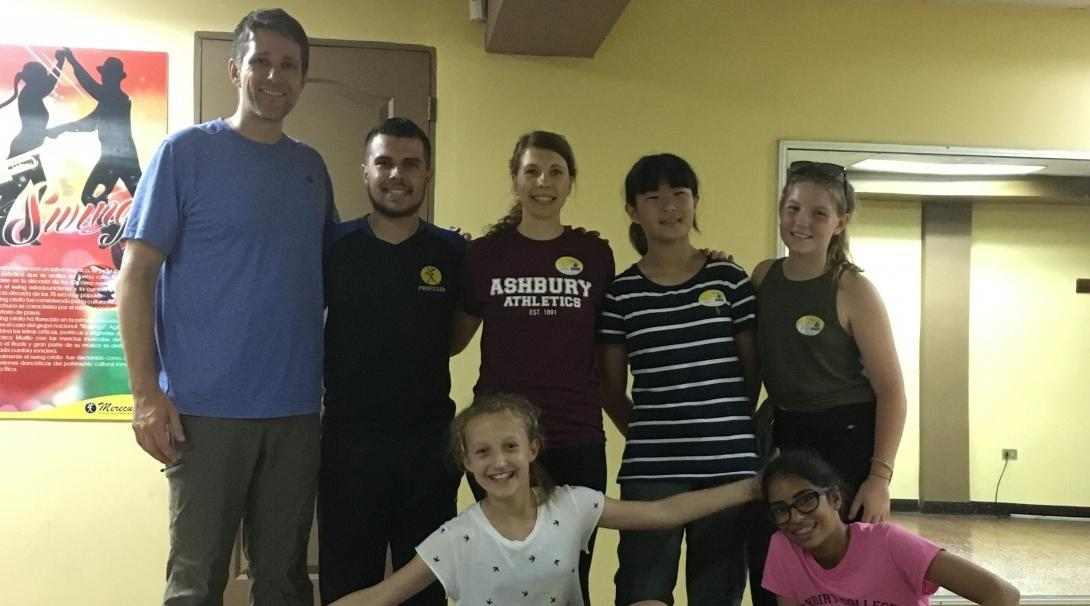 A group of middle school students enjoy a Latin dance class after a day filled with volunteering abroad.